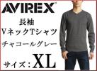AVIREX long sleeve V neck T-shirt XL charcoal gray / Avirex new goods Avirex DAILY V-NECK L/S Tee