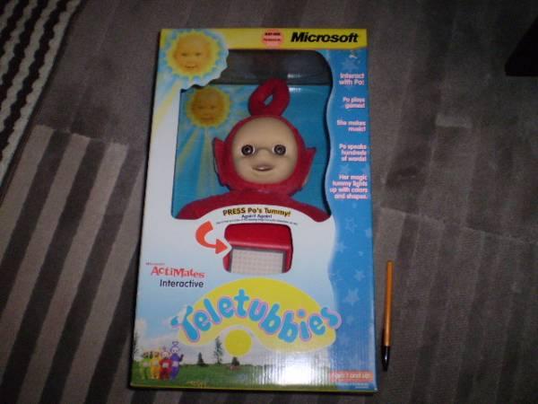 新品 レア Teleyubbies テレタビーズ ぬいぐるみ ポー マイクロソフト 人形 知育玩具 Uk toy 特大 コレクション インテリア ビンテージ