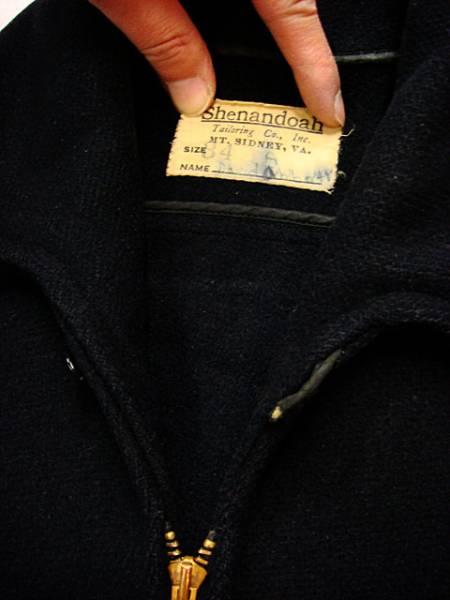ビンテージ SHENANDOAH 「?」 アンノウン 40S ウール ジャケット コート 希少 サイズ 34 レザー トリム タロン 濃紺 希少 ウエスト 絞り_画像2