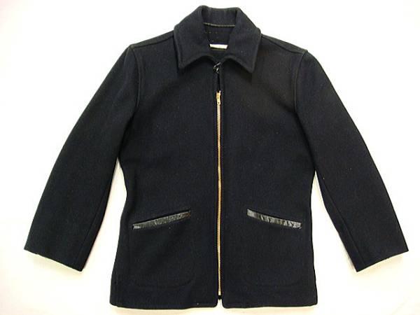 ビンテージ SHENANDOAH 「?」 アンノウン 40S ウール ジャケット コート 希少 サイズ 34 レザー トリム タロン 濃紺 希少 ウエスト 絞り_画像1