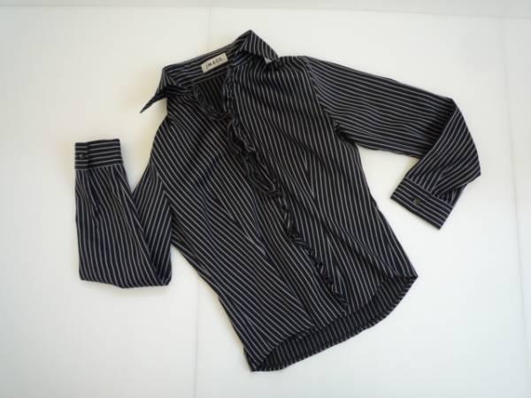 【美品!!】 ★ イマージュ/iMAGE ★ フリルシャツ 黒 長袖 9