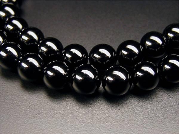 ♪即決 【壽】直径8.8mm天然AAA級最高級品黒瑪瑙ネックレス_画像2