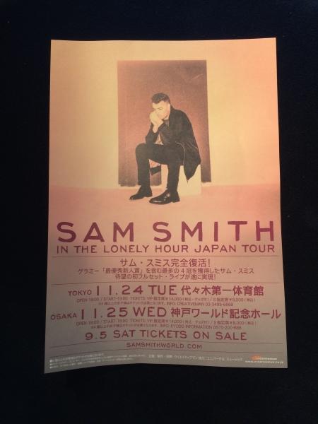 コンサートチラシ★SAM SMITH サム・スミス
