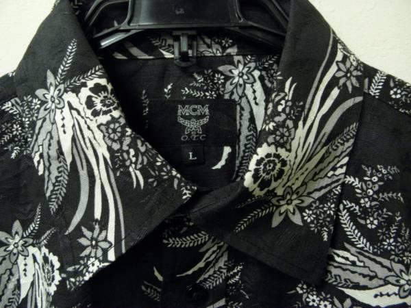 A-20☆MCM 総柄シャツ O.T.C 花柄 アロハシャツ 半袖 かなりイカツイ系 モード系 黒 ブラック シンプル ハワイアン 激レア バトル_画像2