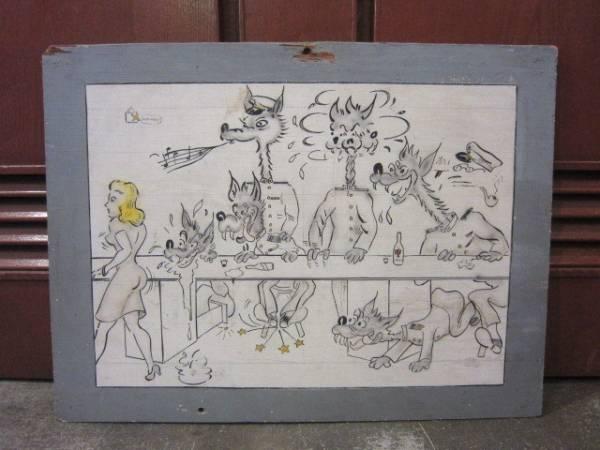 ビンテージ40's★U.S.NAVYハンドペイントアート★50's海軍絵雑貨_画像1