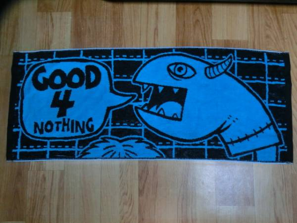 GOOD 4 NOTHINGグッドフォーナッシング(グッフォー) 廃盤バンドロゴ★フェイスタオル色ブルー×ブラック 新品 今治産