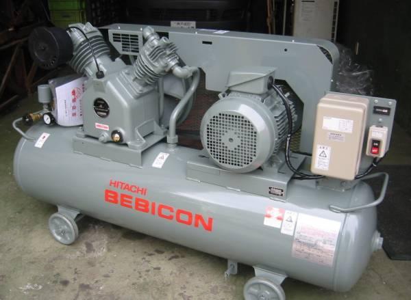送料無料税込 日立10馬力レシプロコンプレッサー7.5P-9.5VP5/6 三相200V/ベビコン/給油式 ※お急ぎの場合落札前納期確認願います
