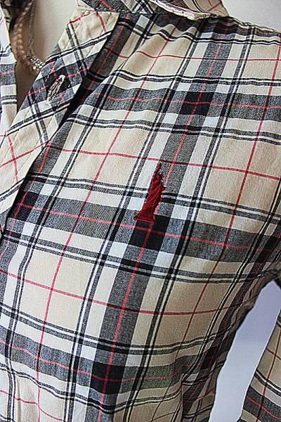 275美品イーストボーイ★ロゴ刺繍チェック柄長袖シャツ ブラウス_画像2