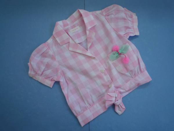 【新品・半額!!】 ■Merry Kate■ 韓国子供服 前結びシャツ M