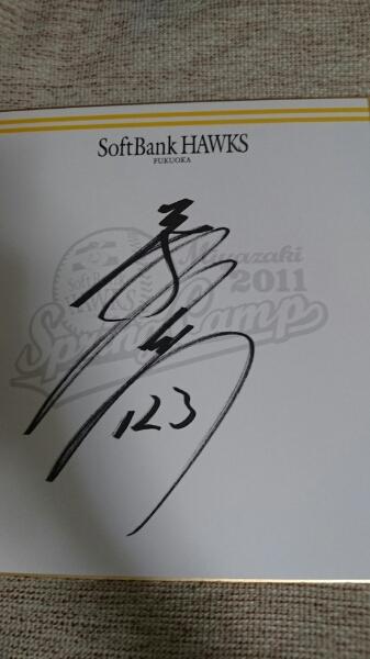 福岡ソフトバンクホークス二保旭直筆サインチームロゴ色紙