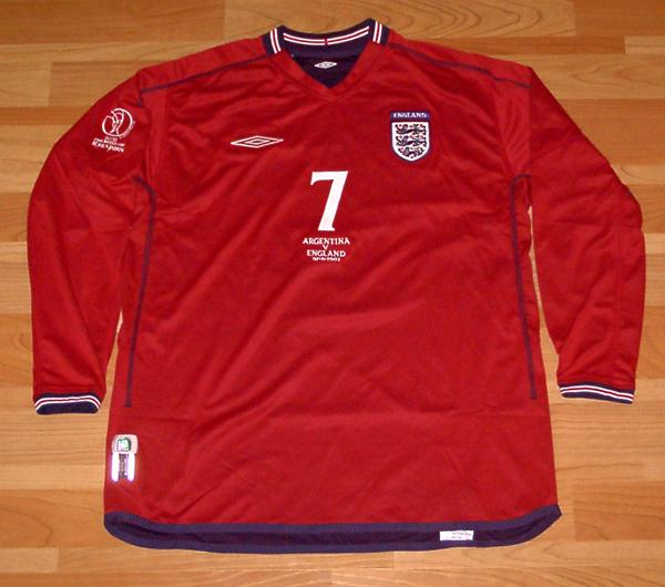 02W杯 イングランド(A)#7 ベッカム BECKHAM 長袖 アルゼンチン戦 2002WC UMBRO正規 M