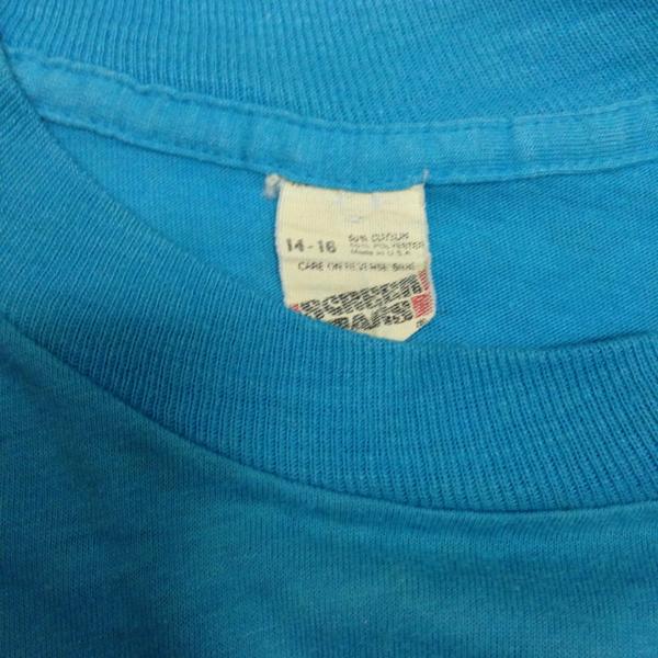 80's ヴィンテージ ダンスTシャツ カルフォルニア made in USA アメリカ製 ターコイズ_画像3