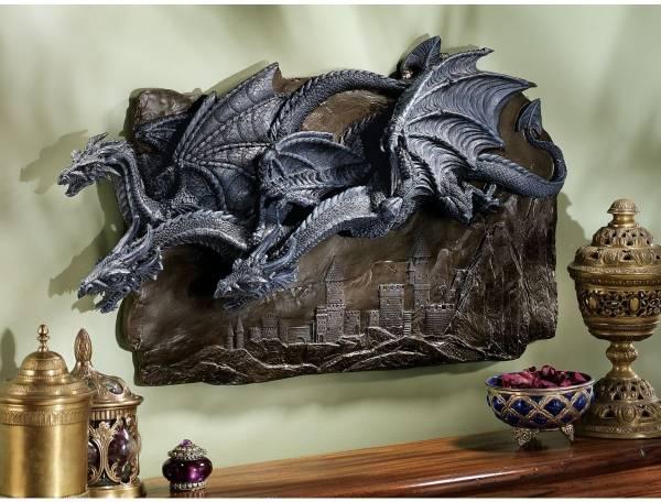 立体的ドラゴンの群れ 壁掛けレリーフ壁飾り彫刻置物ファンタジーオブジェ個性的デザイン雑貨竜装飾家具調度品飾りゴシック様式インテリア_画像1