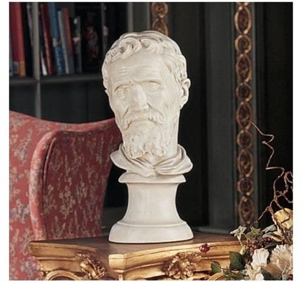ミケランジェロの胸像 芸術美術家彫刻置物石膏デッサンスケッチ_画像1