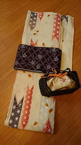 【未使用】浴衣・小袋帯・かごバッグ3点セット きなり・矢絣・レトロ
