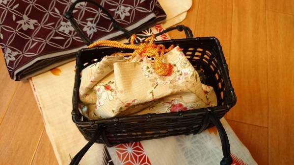 【未使用】浴衣・小袋帯・かごバッグ3点セット きなり・矢絣・レトロ_画像3
