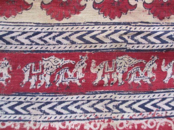 インド 木綿更紗 象と馬模様 18世紀中期_画像2
