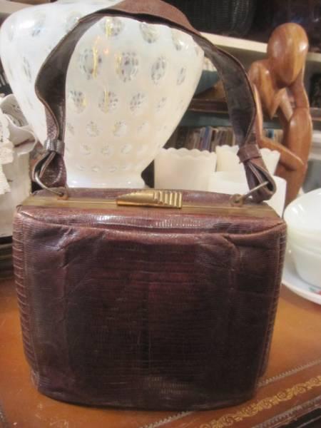 ◆50's USA製リザード本皮バッグ ヴィンテージ/レディース女性Paris古着アメリカアンティーク蚤の市_画像1