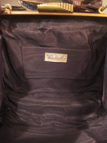 ◆50's USA製リザード本皮バッグ ヴィンテージ/レディース女性Paris古着アメリカアンティーク蚤の市_画像3