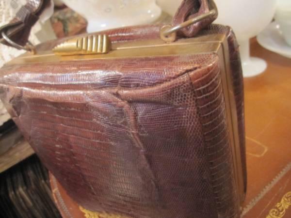 ◆50's USA製リザード本皮バッグ ヴィンテージ/レディース女性Paris古着アメリカアンティーク蚤の市_画像2