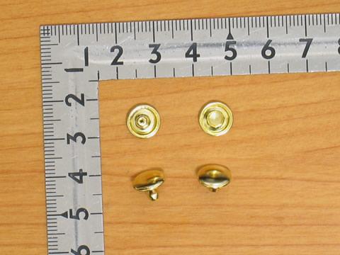 カシメ大両面足短 ゴールド 頭9mm 足7mm 100個セット 金具屋_画像1