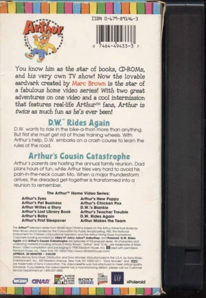 ★【ARTHUR'S】D.W. RIDES AGAIN (VHSビデオ)_パッケージの裏面とテープカセットの背