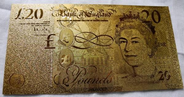 純金の20ポンド札 イギリス 24金箔 金運UP 幸運ゾロ目 ユーロ_画像2