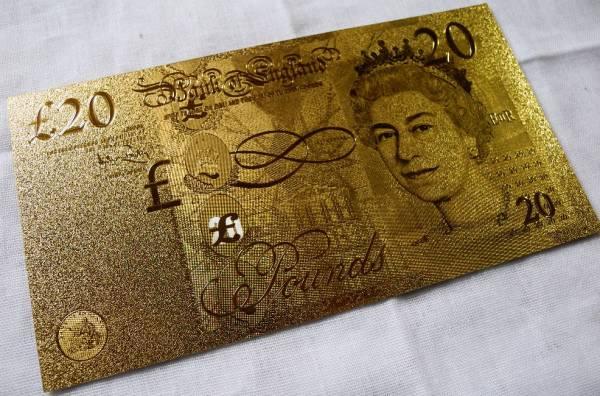 純金の20ポンド札 イギリス 24金箔 金運UP 幸運ゾロ目 ユーロ_画像1