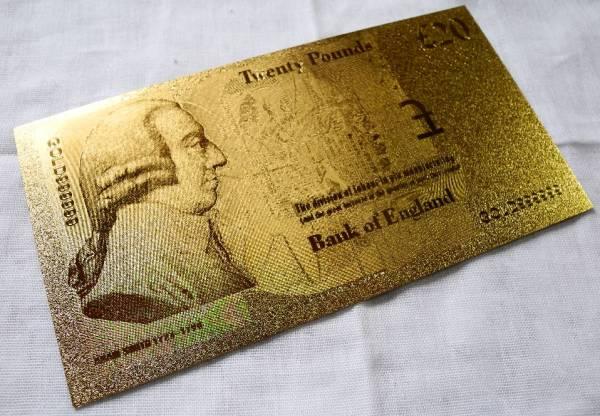 純金の20ポンド札 イギリス 24金箔 金運UP 幸運ゾロ目 ユーロ_画像3