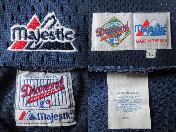 90's USA製 Seattle Mariners Majestic メッシュ ユニフォーム Lネイビー系 ベースボール シャツ ジャージ シアトル マリナーズMLBイチロー_使用感,薄汚れ等有り