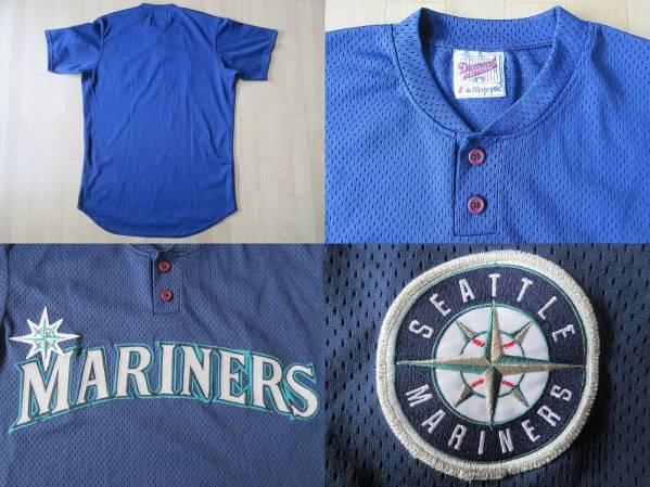 90's USA製 Seattle Mariners Majestic メッシュ ユニフォーム Lネイビー系 ベースボール シャツ ジャージ シアトル マリナーズMLBイチロー_左上・Majestic製メッシュユニフォーム裏面