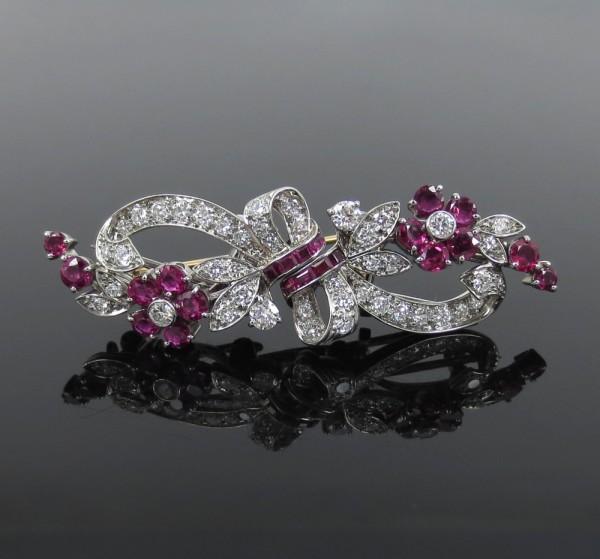 《Tiffanyティファニー ダイヤモンド》プラチナ・ダブルブローチ_画像1