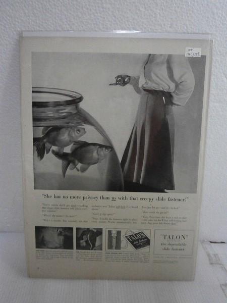1941年アメリカの雑誌広告【TALON/タロン】ジッパー LIFE誌