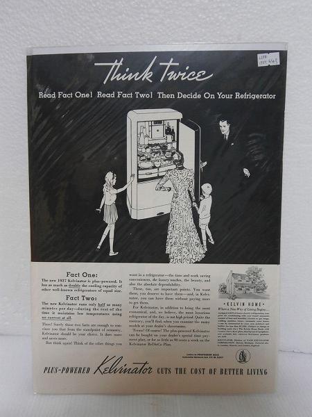 1937年アメリカの雑誌広告【Kelvinator】冷蔵庫 LIFE誌