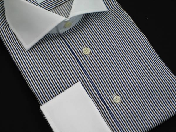 ★イタリアシャツ DANROMA クレリック Wカフス コットンを超えたコットン誘惑の光沢♬~ NAMUR BLU MARRONE 40-91_画像2