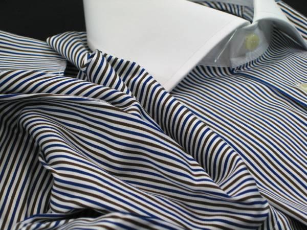 ★イタリアシャツ DANROMA クレリック Wカフス コットンを超えたコットン誘惑の光沢♬~ NAMUR BLU MARRONE 40-91_画像1