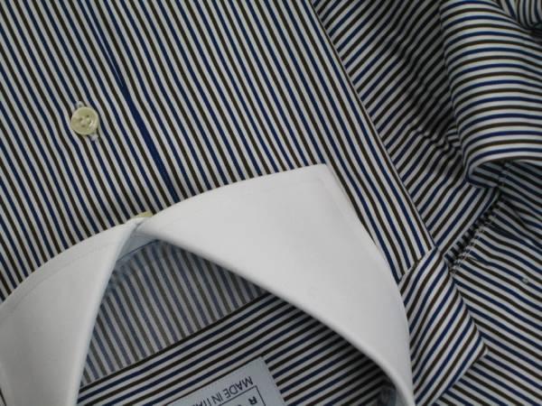 ★イタリアシャツ DANROMA クレリック Wカフス コットンを超えたコットン誘惑の光沢♬~ NAMUR BLU MARRONE 40-91_画像3