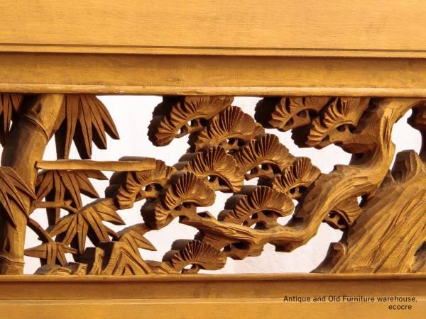 送料無料! 青森ヒバと銘木杉 質感と迫力のある松竹彫刻欄間/菊11_画像2