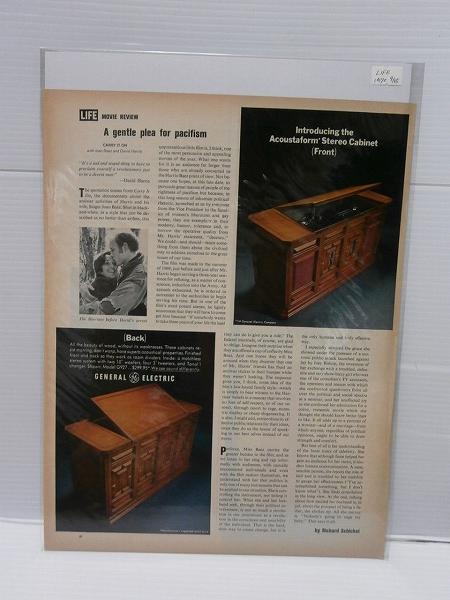 1970年アメリカの雑誌広告【GENERAL ELECTRIC】ステレオ LIFE詩