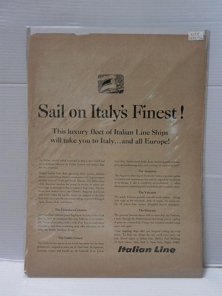 1956年LIFE誌切り抜き【Italian Line】客船 船旅 USビンテージ