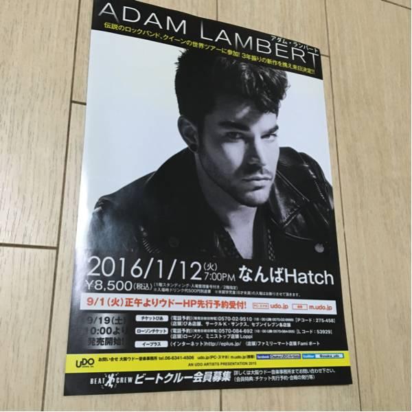 アダム・ランバート adam lambert 来日 ライヴ 告知 チラシ 2016 大阪 なんばhatch