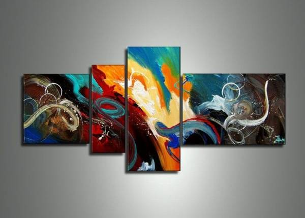 アートパネル 『深海』 40x40cm、1枚他、計4枚組 手描き 壁掛_画像1