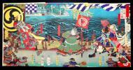 【浮世絵本物】■武者絵 月岡芳年 画 ■豊臣勲功記 (高松城水攻之図) 三枚続 《5/20 大幅価格ダウン》