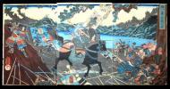 【本物】◎武者絵 ★歌川国芳 画 ◎賎が峯合戦之図 (柴田勝家軍の山路将監正国と秀吉軍の加藤嘉明) 三枚続