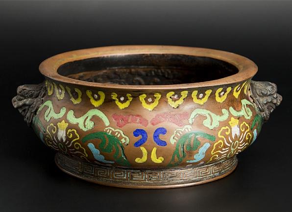 清 銅嵌彩獅爐 大明宣徳年製款 中国 古美術_画像1
