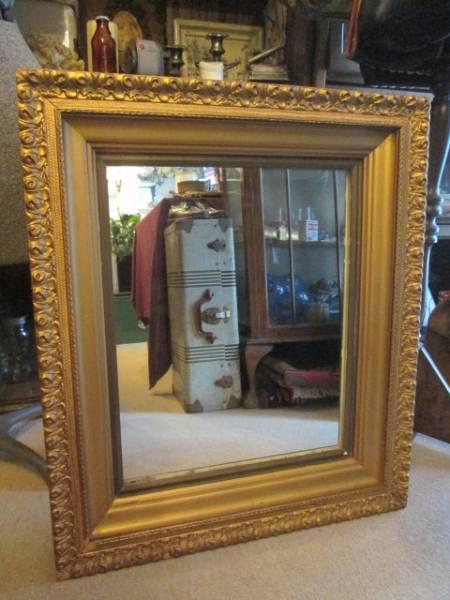 レア!USAアメリカアンティーク 40's~大型壁掛けミラー Antique鏡/店舗什器カリフォルニアインテリアフランス蚤の市ヴィンテージ _画像1