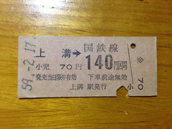 国鉄相模線 上溝駅■硬券乗車券 昭和59年2月17日