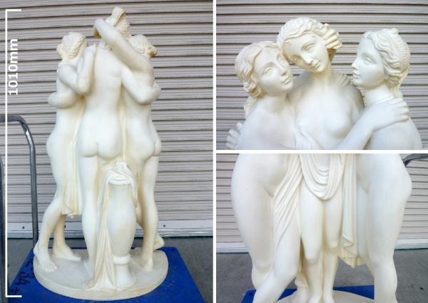 イタリア製:大理石調 石像◆美の三女神 W580xD300xH1010mm 65kg_画像2