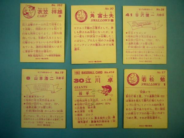古い★カルビー野球カード*若松勉*衣笠祥雄*江川卓など*6枚★_画像2