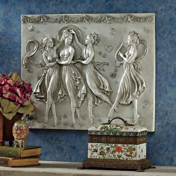 踊る3人の女神 西洋彫刻壁画壁掛け美術品オブジェ レリーフ洋風三美神女性インテリア壁飾り壁画家具調度品置物雑貨西洋洋風装飾カノーヴァ_画像1
